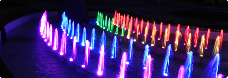Architectural fountain illuminated with fountain LED light fixtures