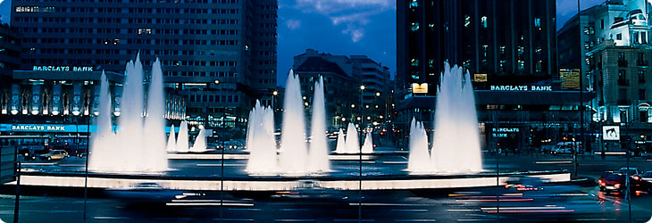 Architectural fountain with cascade nozzle and underwater fountain lights