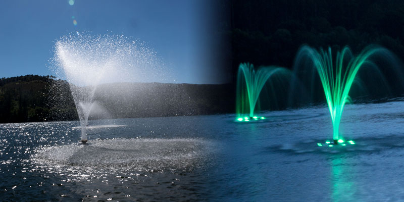 Floating fountains during day and night