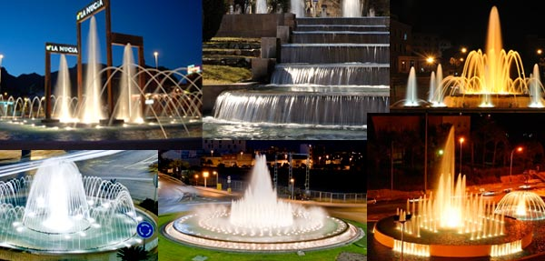 Vaious design of architectural fountains with accessories manufactured by Safe-Rain