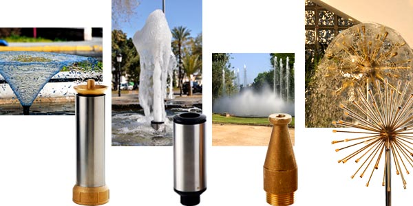 Various fountain nozzle and water jets