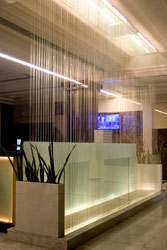 Decorative water curtain in the reception of a hotel