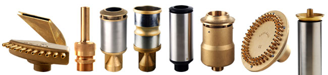 Some of the fountain nozzles manufactured by Safe-Rain
