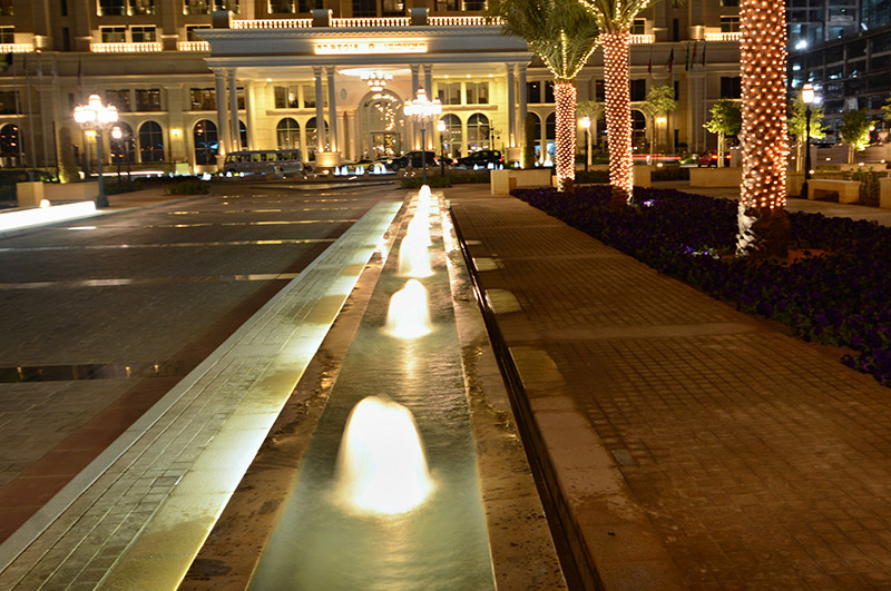 Lighted Fountains At Night