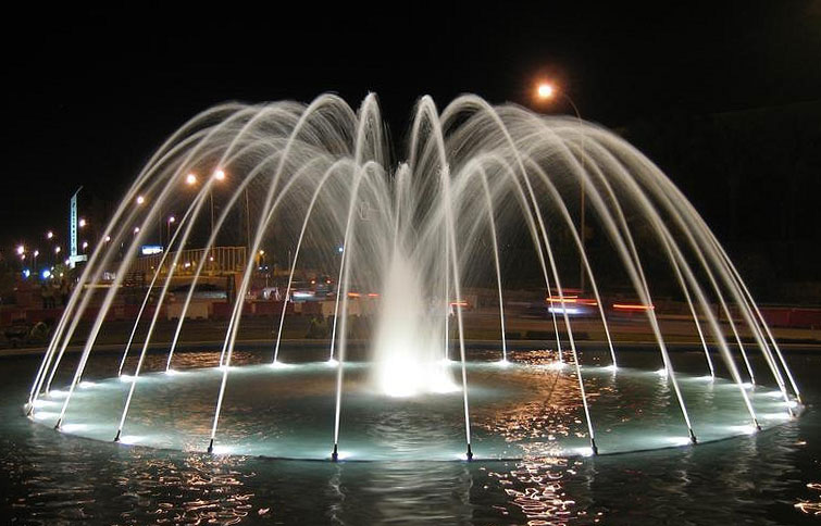 fountain lighted at night