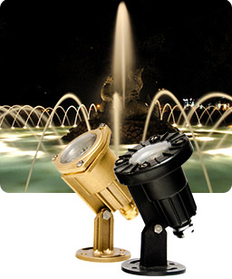 Fountain illuminated with submersible LED lights