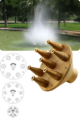 Decorative fountain made up of several Spraying Cloud nozzles