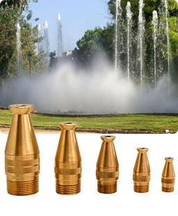 Decorative fountain with lance jets and spraying jets