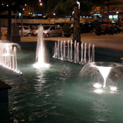 Sample of fountain lighting with two Calix Jets