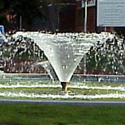Calix Jet in a water fountain