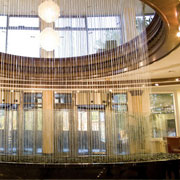 Water curtain in a hotel reception staff