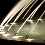 Water jets lighted with submersible LEDs detail