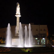 Sample of decorative fountain illuminated at night