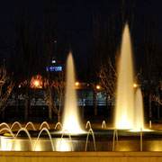 Fountain illuminated with submersible lights