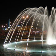 Fountain illuminated at night