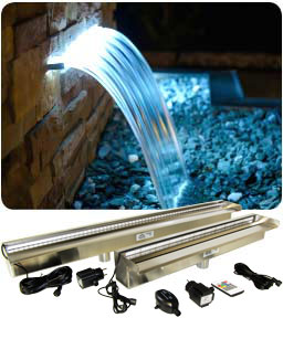 Impresive LED lighted pool waterfall weir