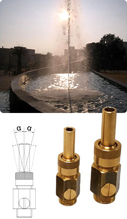 Fuente ornamental con boquillas Chorro de Lanza Regulable
