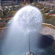 Impressive architectural fountain with huge water sphere