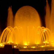 Architectural fountain with lighted water sphere