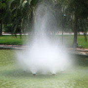 Architectural fountain with spraying clouds nozzle