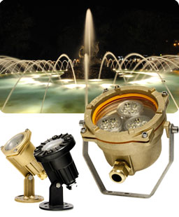 Fuente ornamental iluminada con LED sumergibles