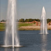 Lakes floating fountains. Geyser