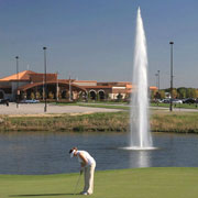 Golf course floating fountain. Geyser
