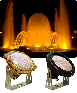 Fountain lighted with submersible incandescence lights